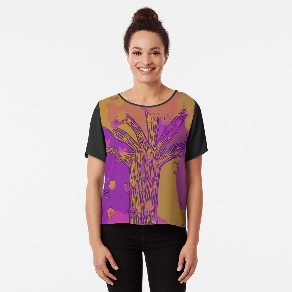 Purple, Magenta, Gold Beautiful Autumn Abstract Fall Tree Chiffon Top