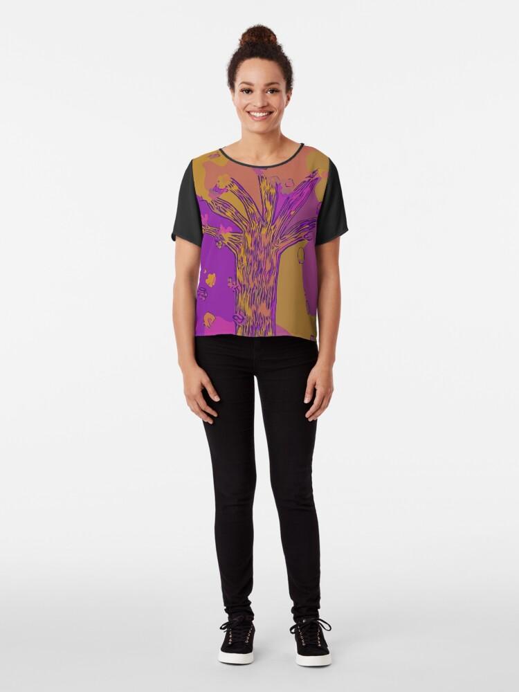 Alternate view of Purple, Magenta, Gold Beautiful Autumn Abstract Fall Tree Chiffon Top