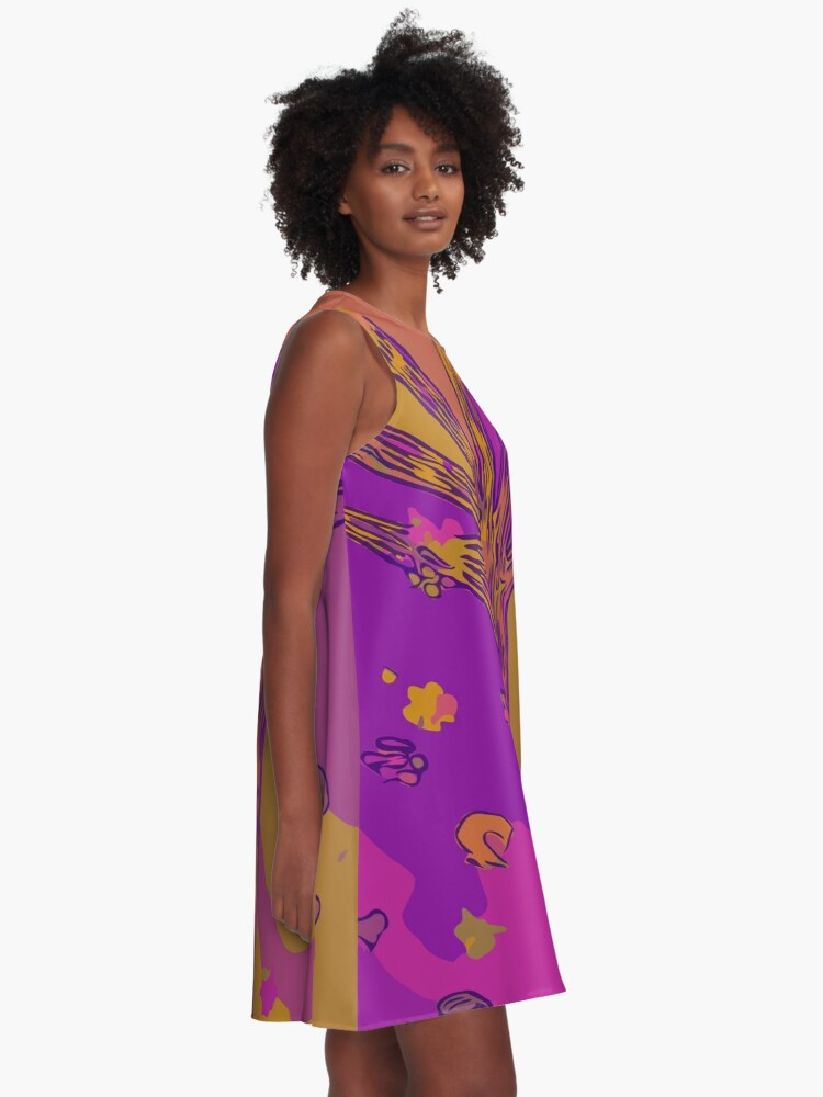 Alternate view of Purple, Magenta, Gold Beautiful Autumn Abstract Fall Tree A-Line Dress