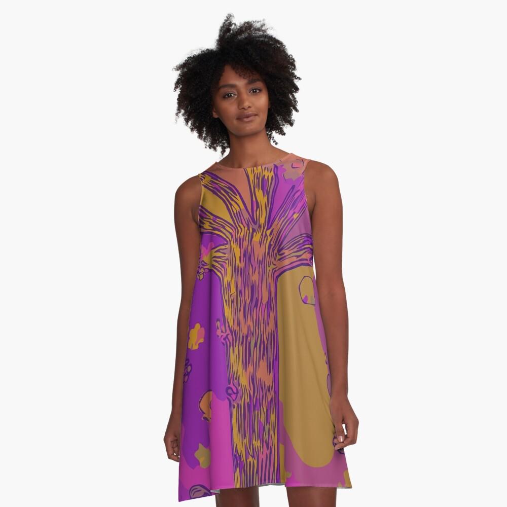 Purple, Magenta, Gold Beautiful Autumn Abstract Fall Tree A-Line Dress