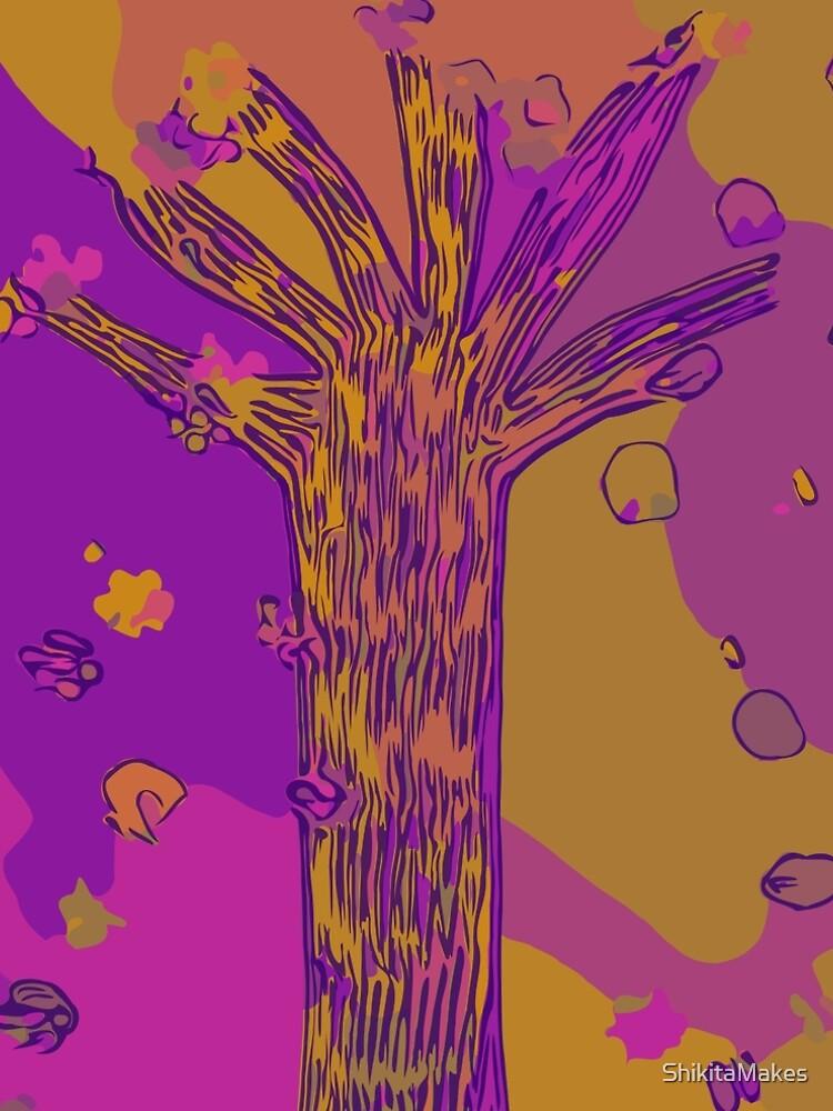 Purple, Magenta, Gold Beautiful Autumn Abstract Fall Tree by ShikitaMakes
