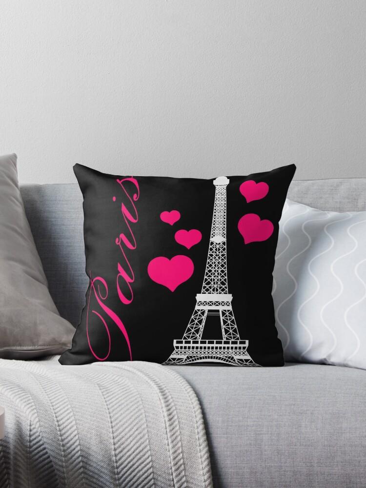\'Paris Eiffel Tower Pink Black\' Throw Pillow by BeachBumFamily