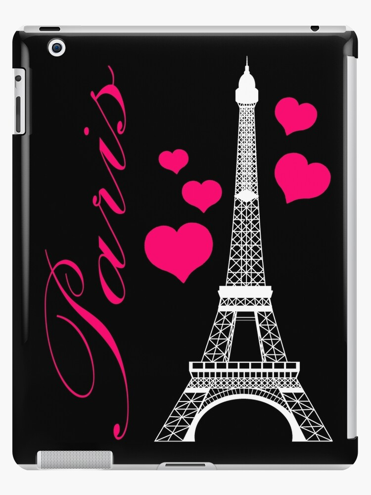 \'Paris Eiffel Tower Pink Black\' iPad Case/Skin by BeachBumFamily