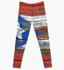 Flag of Puerto Rico on Rough Wood Boards Effect Leggings