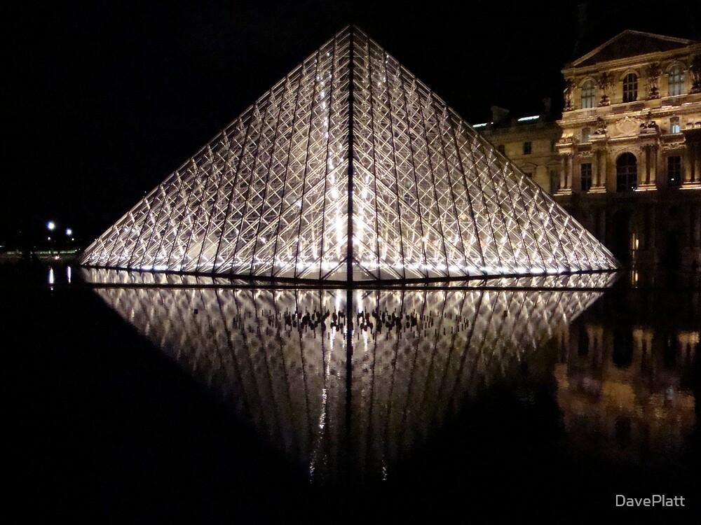 Nighttime Louvre Pyramid Reflection by DavePlatt