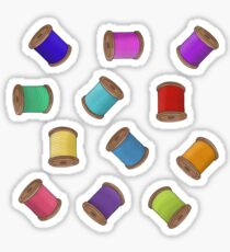 Rainbow Sewing Thread Bobbins Sticker