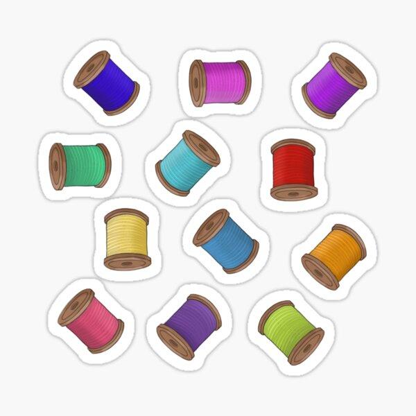 Rainbow Sewing Thread Bobbins Sticker