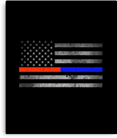 Thin Red Blue Line Flag Distressed