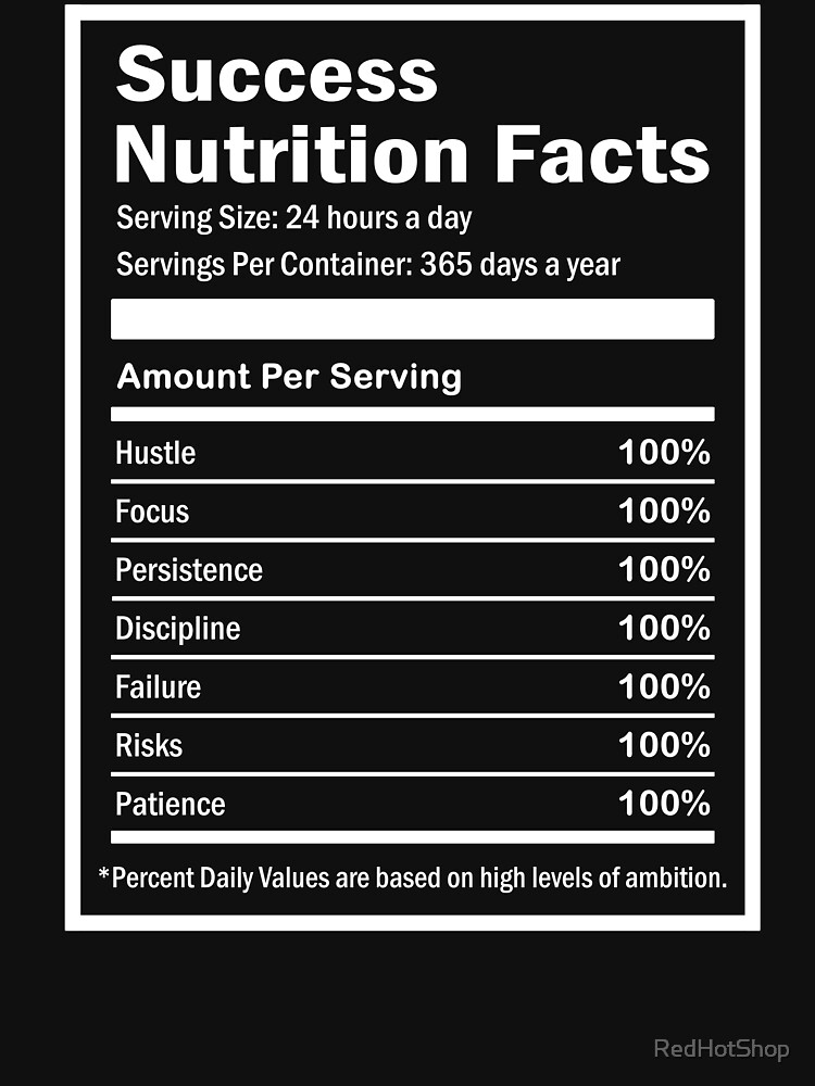 Entrepreneur Success Nutrition Facts by RedHotShop