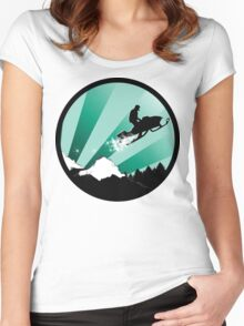 snowmobile : powder trail Women's Fitted Scoop T-Shirt