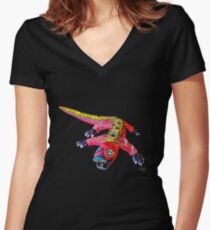 LUNGING DRAGON Fitted V-Neck T-Shirt