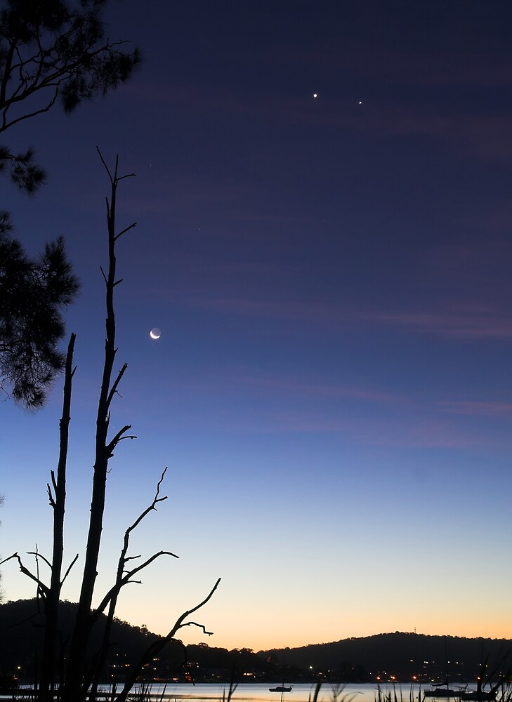 Venus, Jupiter and the Crescent Moon by Mike Salway