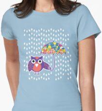 owl rain T-shirt  Womens Fitted T-Shirt