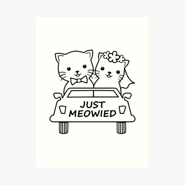 Wedding Love Cats Couple Marriage Framed Art Print 12x16 Inch