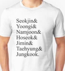 BTS Bangtan Boys Member Birth Names Unisex T-Shirt