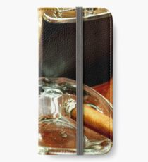 Old wooden pipe, cigars and a flask  iPhone Wallet/Case/Skin