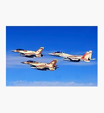 A formation of 2 F-16 and one F-15 Israeli Air Force fighter jets Photographic Print
