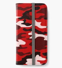 Rote Camouflage iPhone Flip-Case/Hülle/Klebefolie