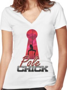 Pole Chick 2 Women's Fitted V-Neck T-Shirt