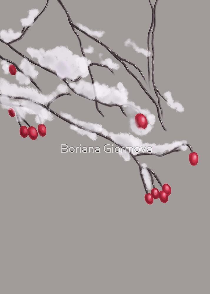 Winter Berries Branches Covered In Snow by Boriana Giormova