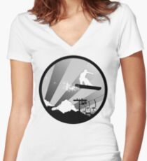 snowboard : powder trail Women's Fitted V-Neck T-Shirt