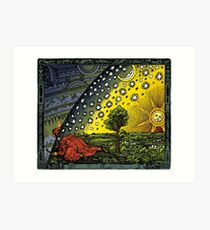 The Flammarion engraving, hand coloured Art Print