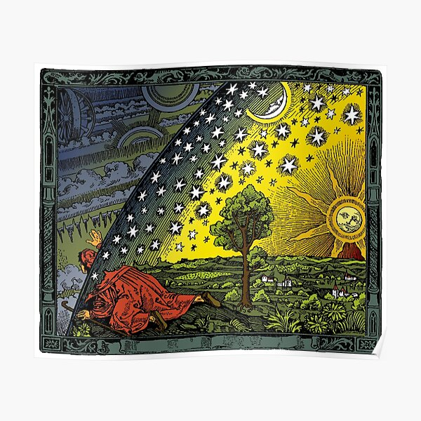 The Flammarion engraving, hand coloured Poster