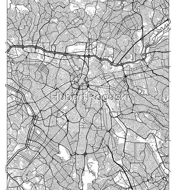 São Paulo Karte Minimal von HubertRoguski