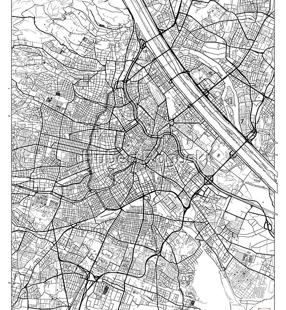 Vienna Map Minimal by HubertRoguski
