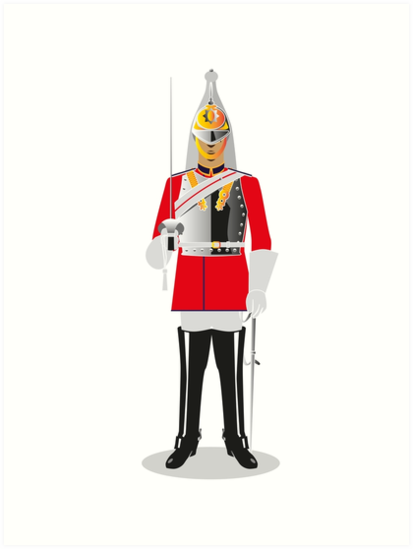 ROYAL COLDSTREAM GUARDS MARCHING LONDON ENGLAND PAINTING ART REAL CANVAS PRINT