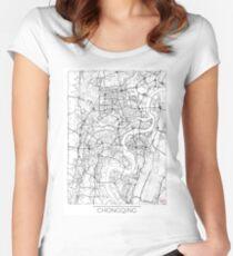 Chongqing Map Minimal Women's Fitted Scoop T-Shirt