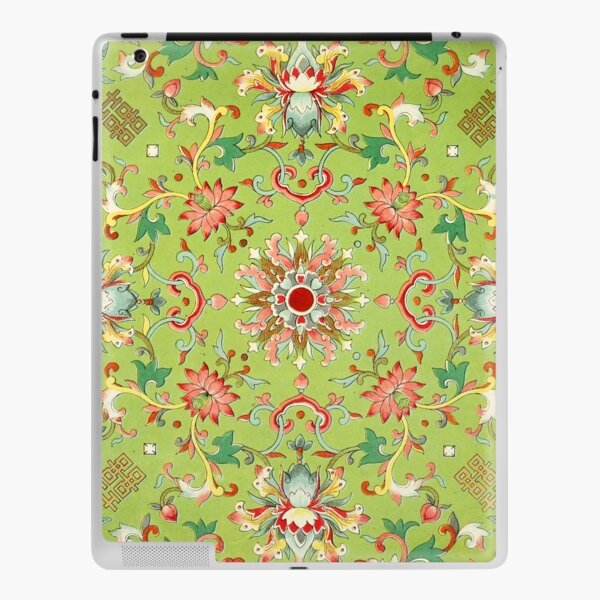 Green and Red Chinese Floral Chinoserie Pattern iPad Skin