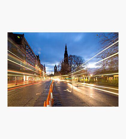 Edinburgh Light-Trails & Walter Scott Monument Photographic Print