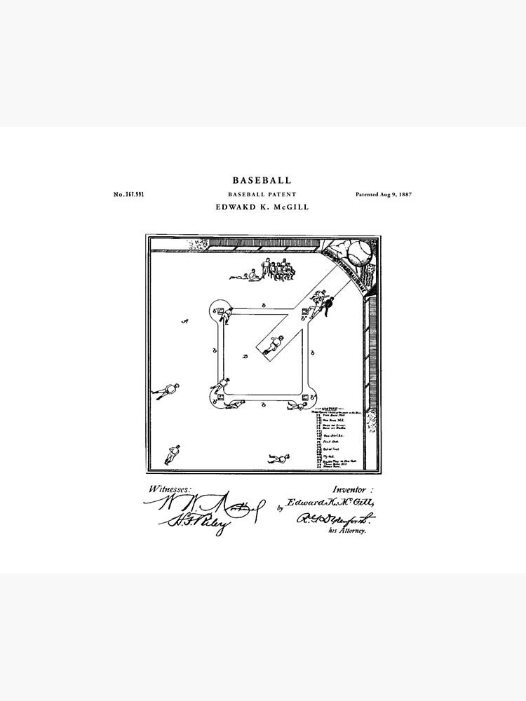Baseball Patent Drawing Blueprint by Vintago