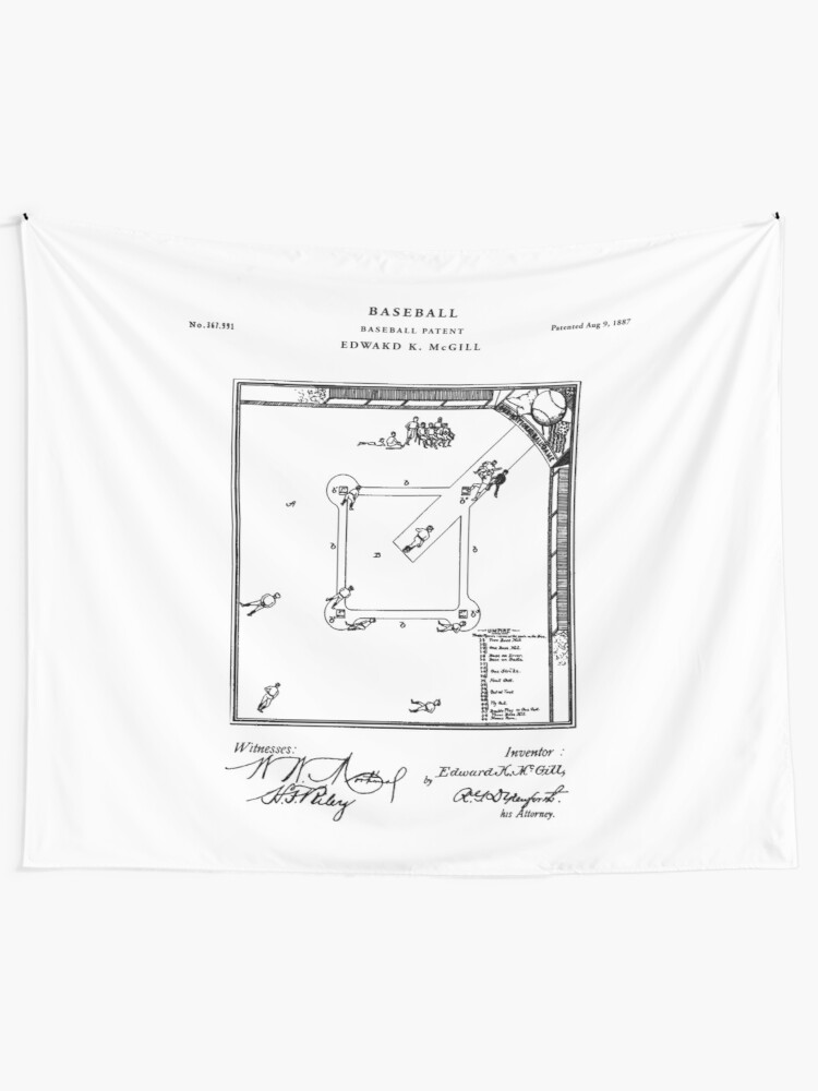 Alternate view of Baseball Patent Drawing Blueprint Tapestry