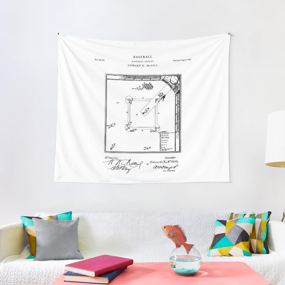 Baseball Patent Drawing Blueprint Tapestry