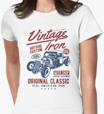 Hot Rod Car Retro Vintage Women's Fitted T-Shirt