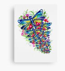 Tropical Dragonfly Flower Garden Canvas Print