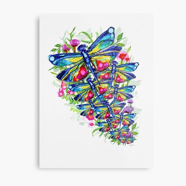Jardín de flores de libélula tropical Lámina metálica