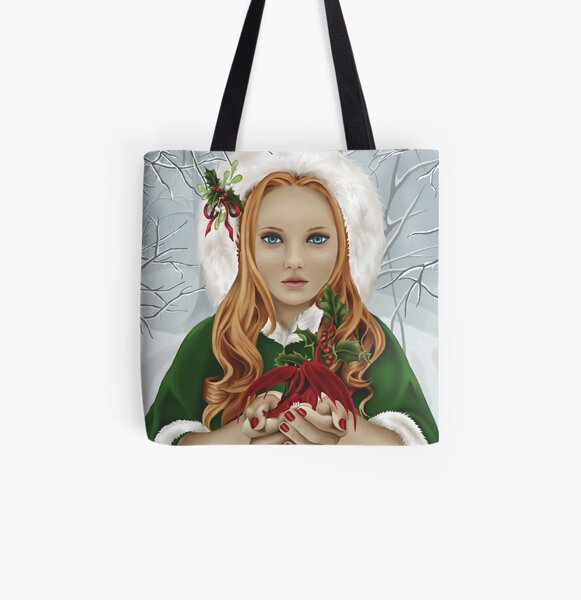 Christmas Yule Winter Holiday Girl with Dragon & Holly All Over Print Tote Bag