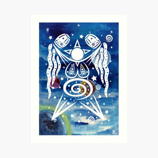 Pagan Art. Sternengöttin mit Wasser und Sternen. Kunstdruck