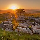 Sunset over Winskill Stones at Langcliffe, Yorkshire by RamblingTog
