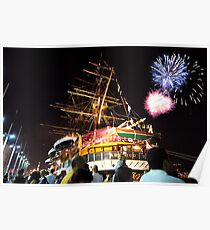 Tall ships 12 fireworks Poster
