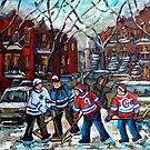 VERDUN POINTE ST CHARLES MONTREAL WINTER IN THE CITY KIDS HOCKEY GAME PAINTING WINDING STAIRCASES C SPANDAU by Carole  Spandau