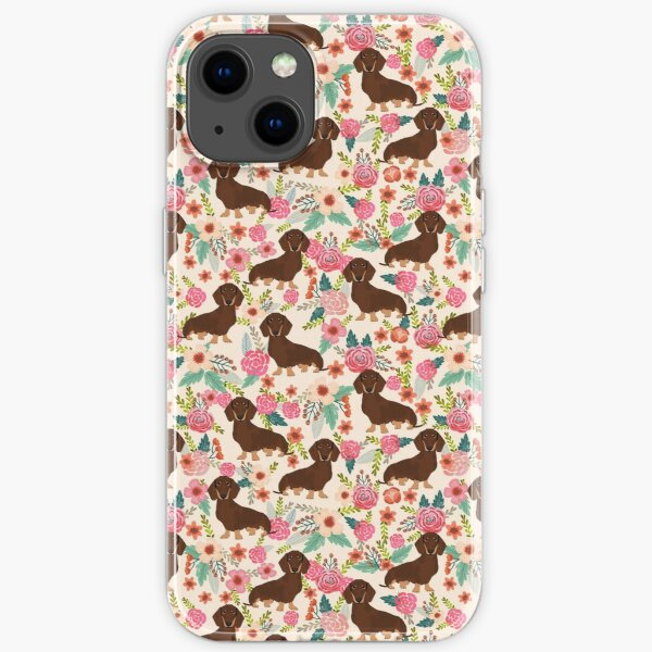Doxie Florals - vintage doxie and florals gift gifts for dog lovers, dachshund decor, chocolate and tan doxie iPhone Soft Case