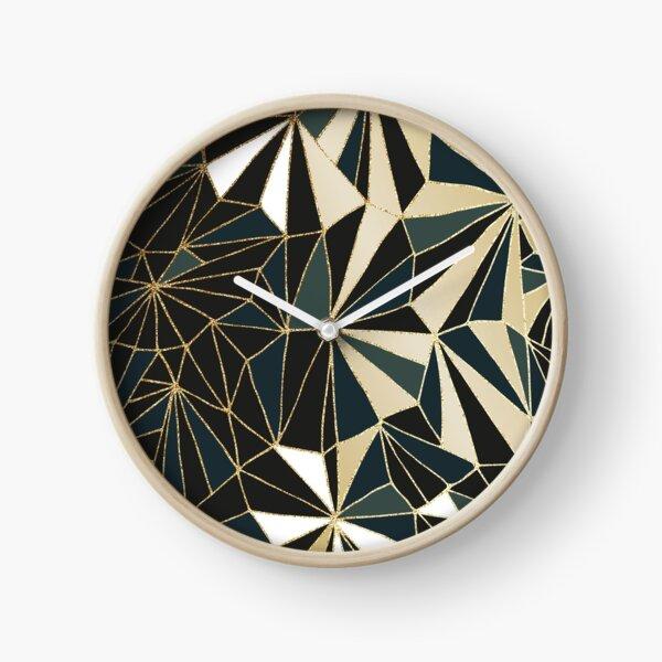 New Art Deco Geometry - Emerald Green & Gold Clock