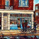 MONTREAL VERDUN WELLINGTON STREET SCENE PAINTING CHEESE SHOP BAKERY DELI STOREFRONT ART CAROLE SPANDAU by Carole  Spandau