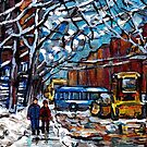 WINTER IN THE CITY NEIGHBORHOOD SNOWPLOW WALKING MONTREAL VERDUN CAROLE SPANDAU STREETSCENE PAINTING by Carole  Spandau