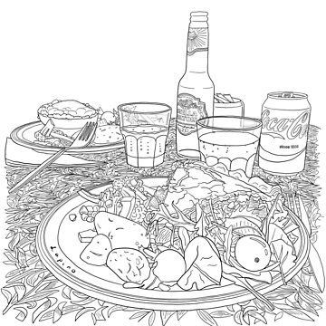 Scottish Beef Steak & Guinness Pie - Coloring Line Art by m-lapino