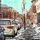 MONTREAL WINTER STREET SCENE PAINTING RUE WELLINGTON VERDUN URBAN QUEBEC ART CAROLE SPANDAU CANADIAN ARTIST by Carole  Spandau
